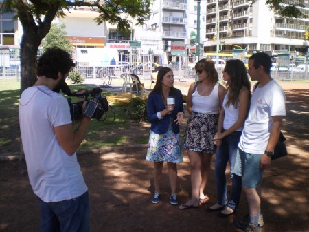Interviewing the tourists, Plaza Italia