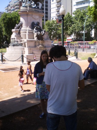 Filming the introduction, Plaza Italia