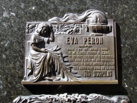 Plaque commemorating Eva Peron, Recoleta Cemetery