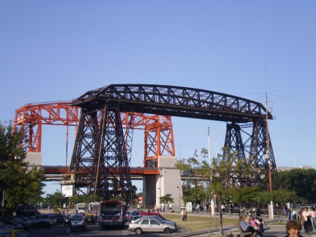Transporter bridge with Puente Nicolas Avelleneda in the background